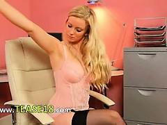 blonde-secretary-in-stocking-teasing