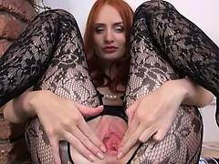 gyno-vibrator-in-her-huge-redhead-vagina