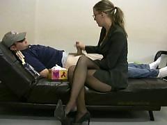 Lady Boss Masturbates Her Lazy Employee To Ignite Him To