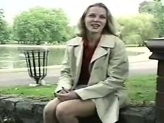 Nervous Blonde Milf Flashing In The Park