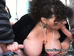 busty kim sucks off two workers