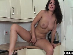 brunette-with-nice-boobs-masturbates-in-kitchen