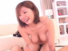 Subtitled hanging breasts Japanese blowjob facesitting