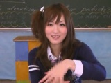 Subtitled POV CFNM Japanese schoolgirl class handjob