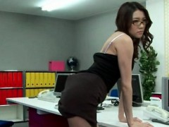 stressed-out-asian-secretary-toy-fingered-in-the-office
