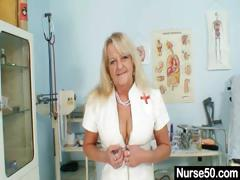 grandma-in-uniform-spreads-blond-hairy-pussy