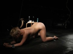Slave Plugged In Anus And Pussy While Hard Ass Slapped