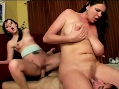 milf-teaches-beautiful-brunette-daughter-to-please