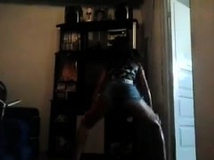 cute brazilian girl dancing at home