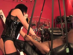 Suspended Sub Dominated And Pissed On