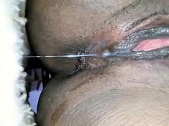 Black Babe Masturbates And Squirts – Closeup