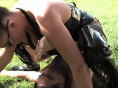 Femdom fetish slut pegging subs ass outdoors
