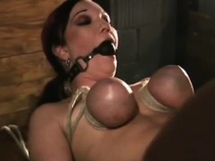 masochist-bitch-stands-savage-breast-torture-with-ropes