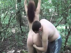 Brutally Fisting Her Ruined Teen Pussy In A Forest