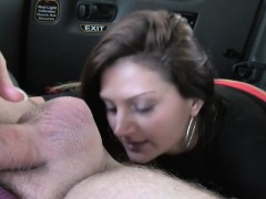 Bad Brunette Gives Rimjob In A Cab