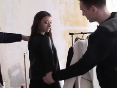 russian tries on clothes before fucked by two men – فتاة تشعل الشهوة سكس روسي