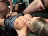 Two horny sluts share a throbbing cock