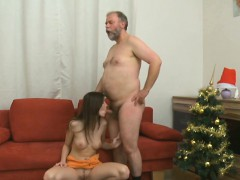 Lustful old lad explores young juicy body of a pretty cutie