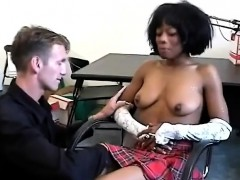 ebony schoolgirl gets seduced by her horny white teacher.