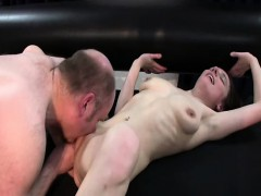 skinny slut girl fist fucked by a big old pervert