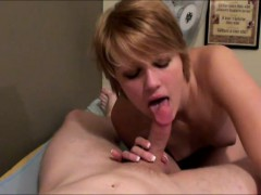 Short Haired Blonde Explores Her Passion For Hardcore Sex On The Bed