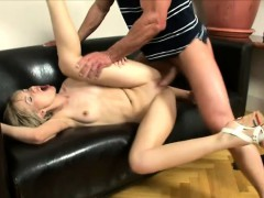 desirable blonde with pigtails has a hung dude plowing her anal hole