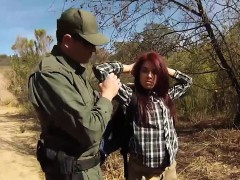 redhead babe onyx fucks the officer to cross the border