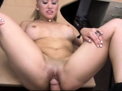 Hot blonde babe gets her pussy pounded by pawn keeper