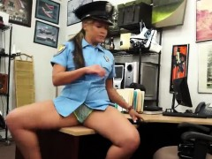 Brunette Police Officer Spreads Legs