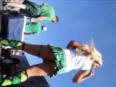 perfect outdoors upskirt shots of women in green dresses an