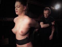 busty slave suffers in severe bondage punishment fuck