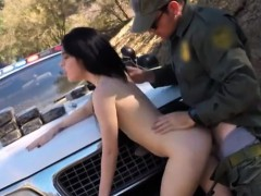 russian babe fucked by border patrol guy on the border