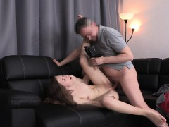 Slim Young Nympho With Small Boobs Has Fun With A Big Stick In Casting