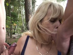 Old Grandma And Boys Teenager 3some Outdoors
