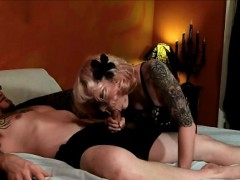 Beautiful Tattooed Blonde June Cummings Starts By Bobbing