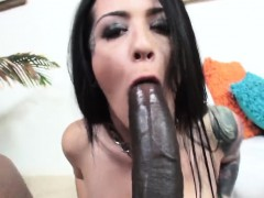 Tattooed Whore In Fishnets Worships Black Dick