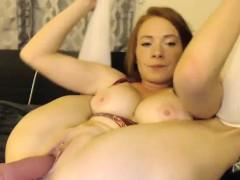 massive tits redhead milf camgirl dildoing on webcam – Free Porn Video