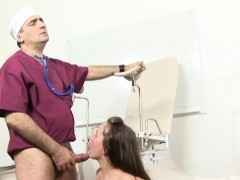russian brunette strips for her doctor porn