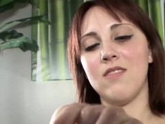 redhead bitch jerking and spitting on penis porn