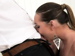surprised model in lingerie is geeting peed on and banged