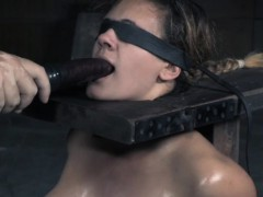 dominated-sub-rides-sybian-and-gags-on-dildo