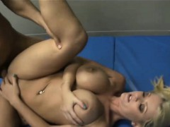 Blonde hottie with big boobs gets fucked