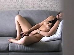 Voyeur Spying On Skinny Latina In Motel Masturbation