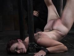 tit bondage slave gagging on a monster dildo