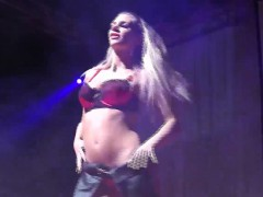 sexy babe striptease on public stage