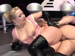 dirty busty blonde latex babe enjoys a good fuck