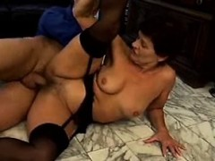 Granny In Stockings Rides Cock