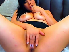big titted brunette masturbates with a dildo on the couch WWW.ONSEXO.COM