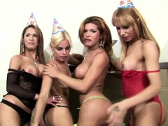 Four Trannies Get Naked And Show Off Their Yummy Shecocks