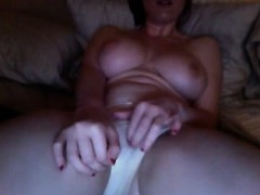 Busty Girl Masturbating And Watching Porn